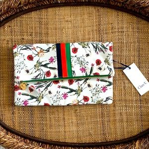 Clare V Floral & Stripe Leather Zip Large Clutch